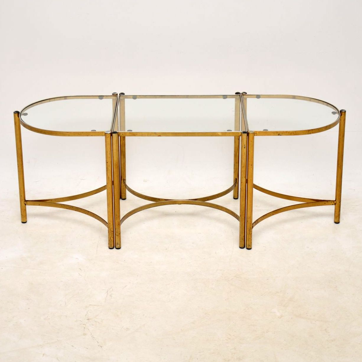 1960's Vintage Brass Coffee Table / Side Tables