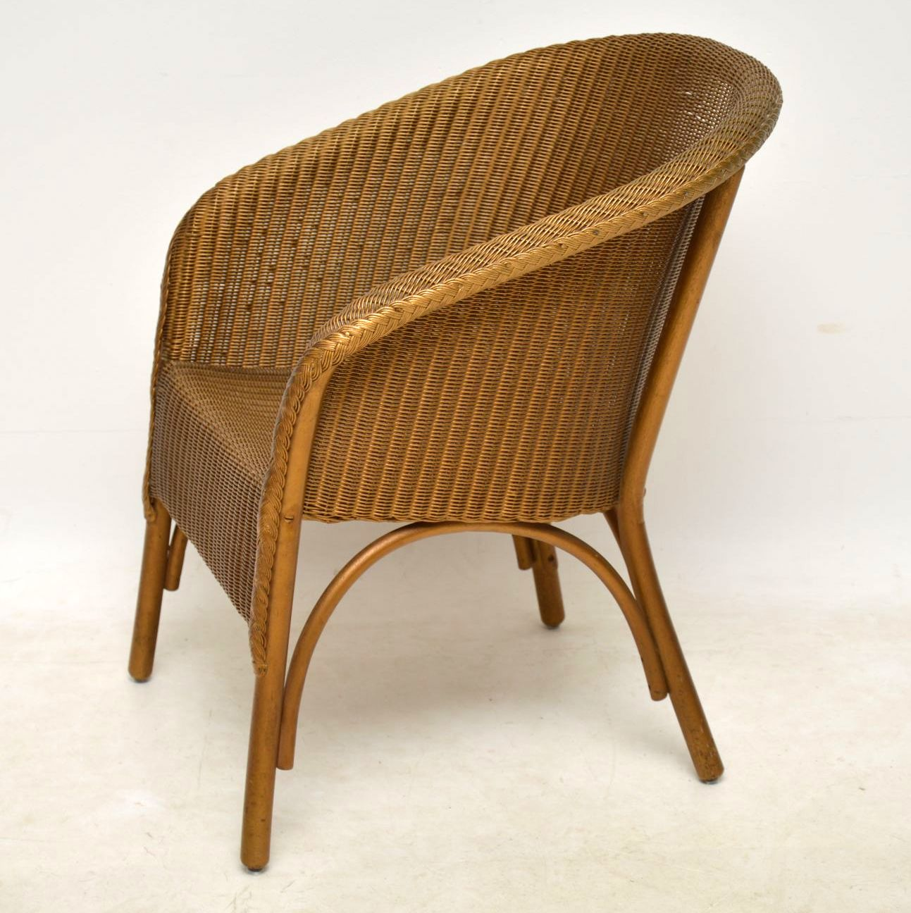1950 S Lloyd Loom Lusty Wicker Armchair Chair