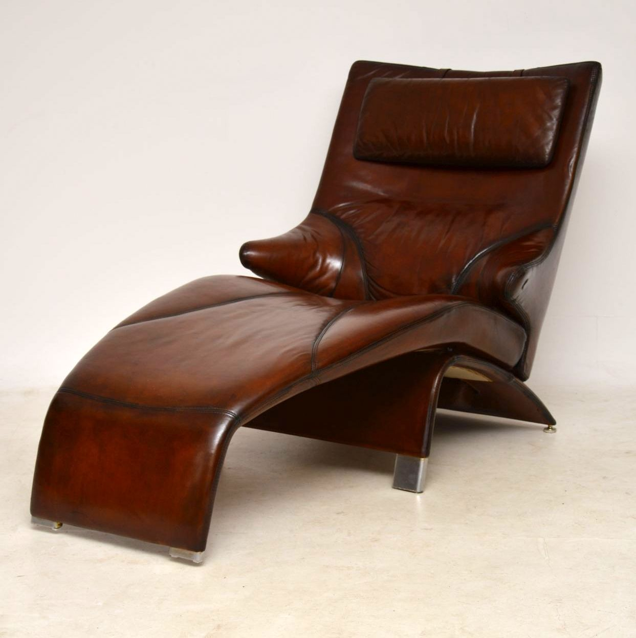 Danish Leather Reclining Chaise Lounge Armchair Berg