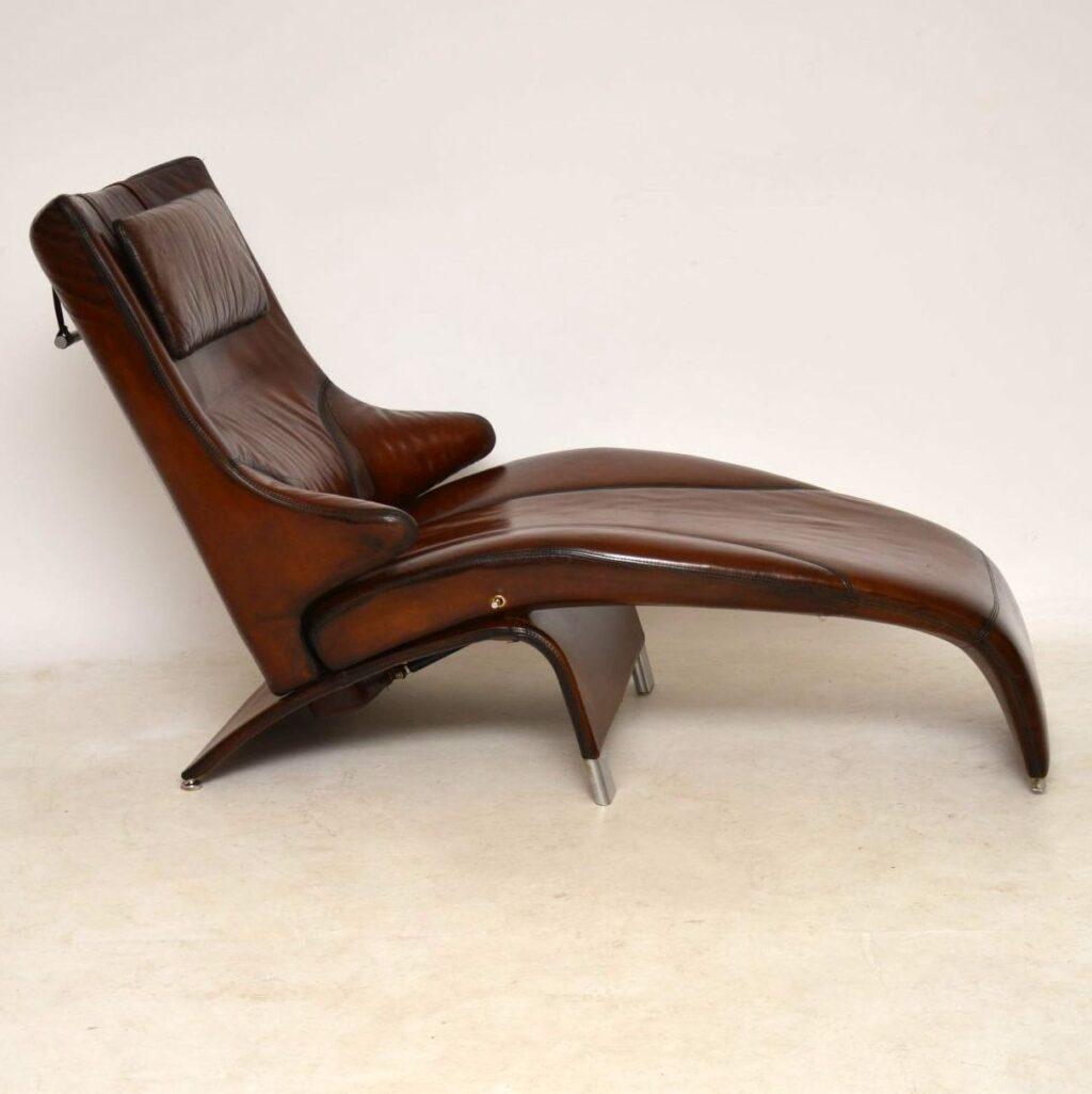 danish leather chaise lounge reclining armchair berg supreme