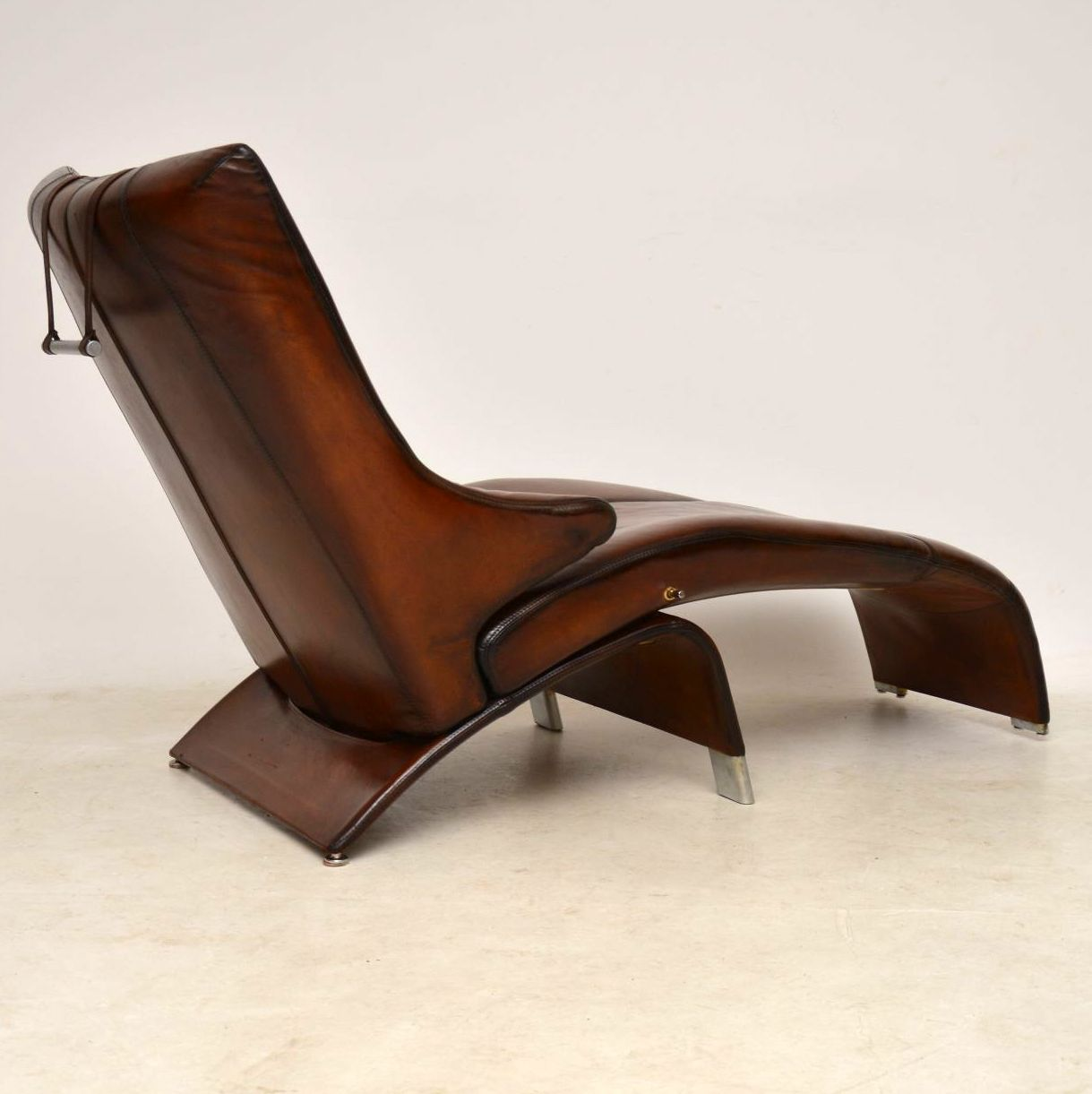 Danish Leather Reclining Chaise Lounge Armchair Berg Supreme