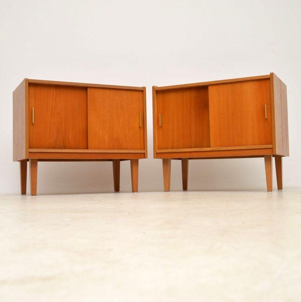 pair of teak vintage record cabinets