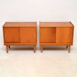 pair of teak vintage record cabinets