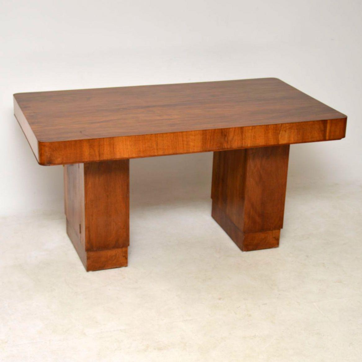 Vintage Art Deco Walnut Pedestal Dining Table