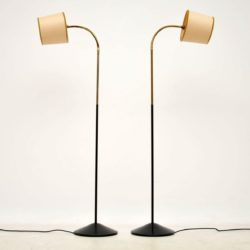 1950's Pair of Vintage Brass & Iron Floor Lamps