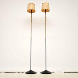 pair of vintage brass floor lamps
