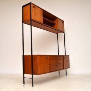 teak vintage wall unit sideboard bookcase