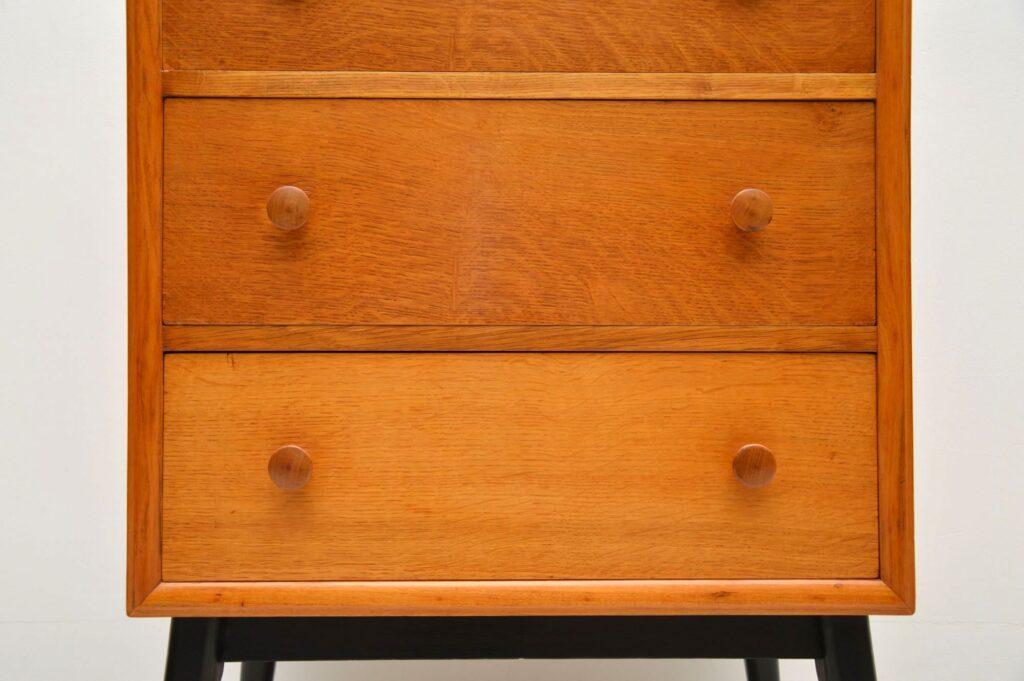 retro oak tallboy chest of drawers
