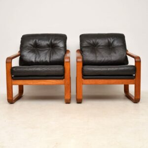 vintage pair of danish leather armchairs