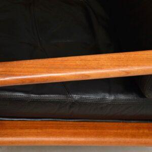 1960's Vintage Pair of Danish Leather & Teak Armchairs