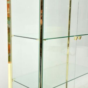 1970's Vintage Italian Brass & Glass Display Cabinet / Bookcase
