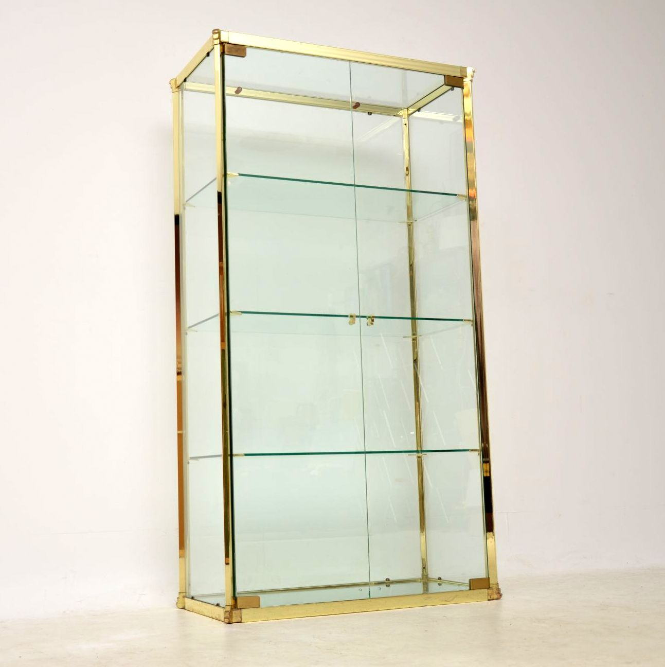 vintage italian glass and brass display cabinet romeo rega
