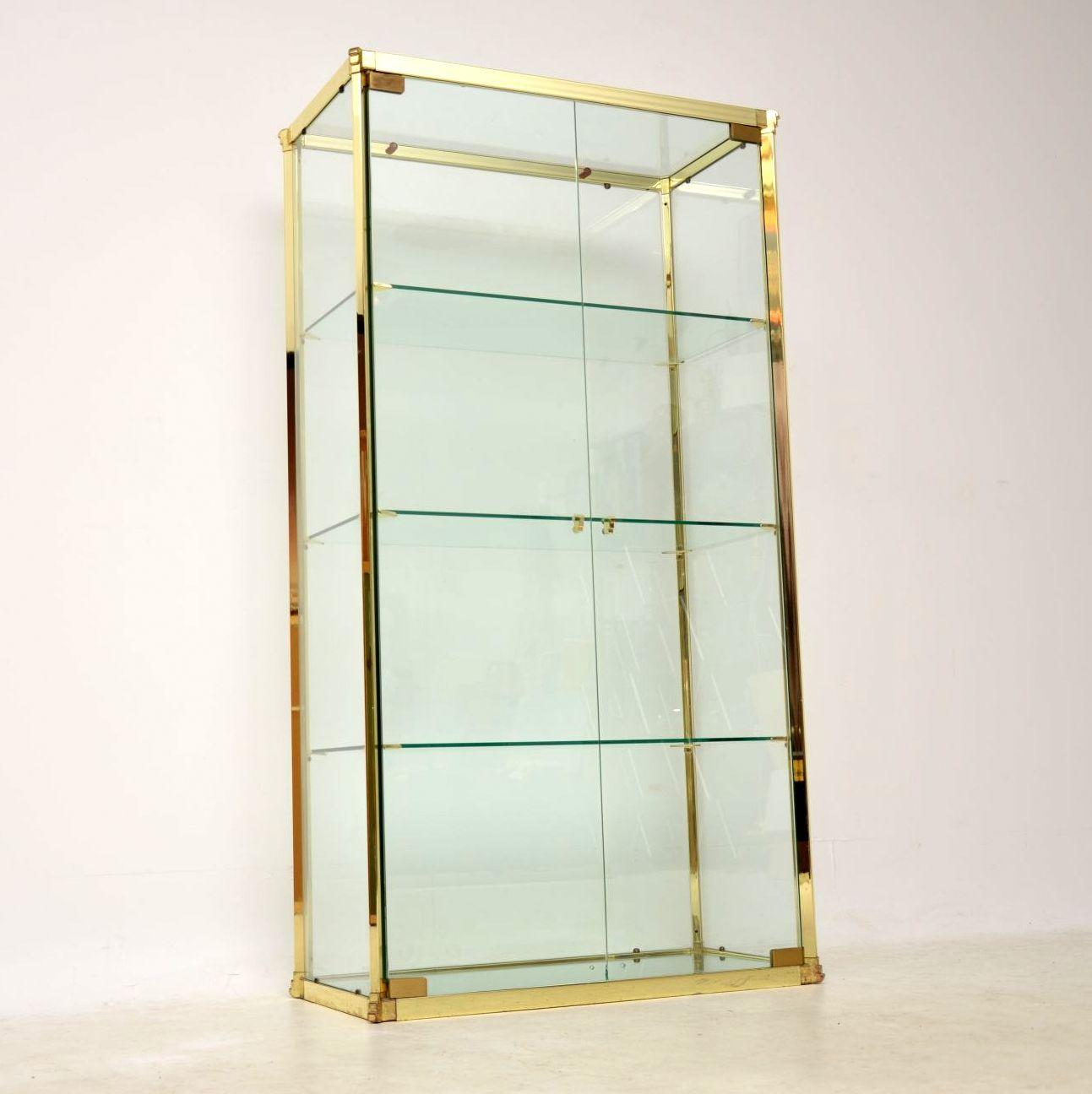 1970 S Vintage Italian Brass Amp Glass Display Cabinet
