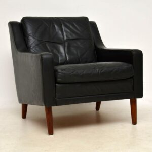 1960's Vintage Danish Leather and Rosewood Armchair