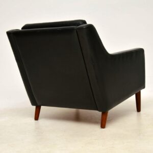 vintage danish leather and rosewood armchair