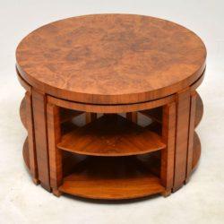 art deco burr walnut vintage nesting coffee table