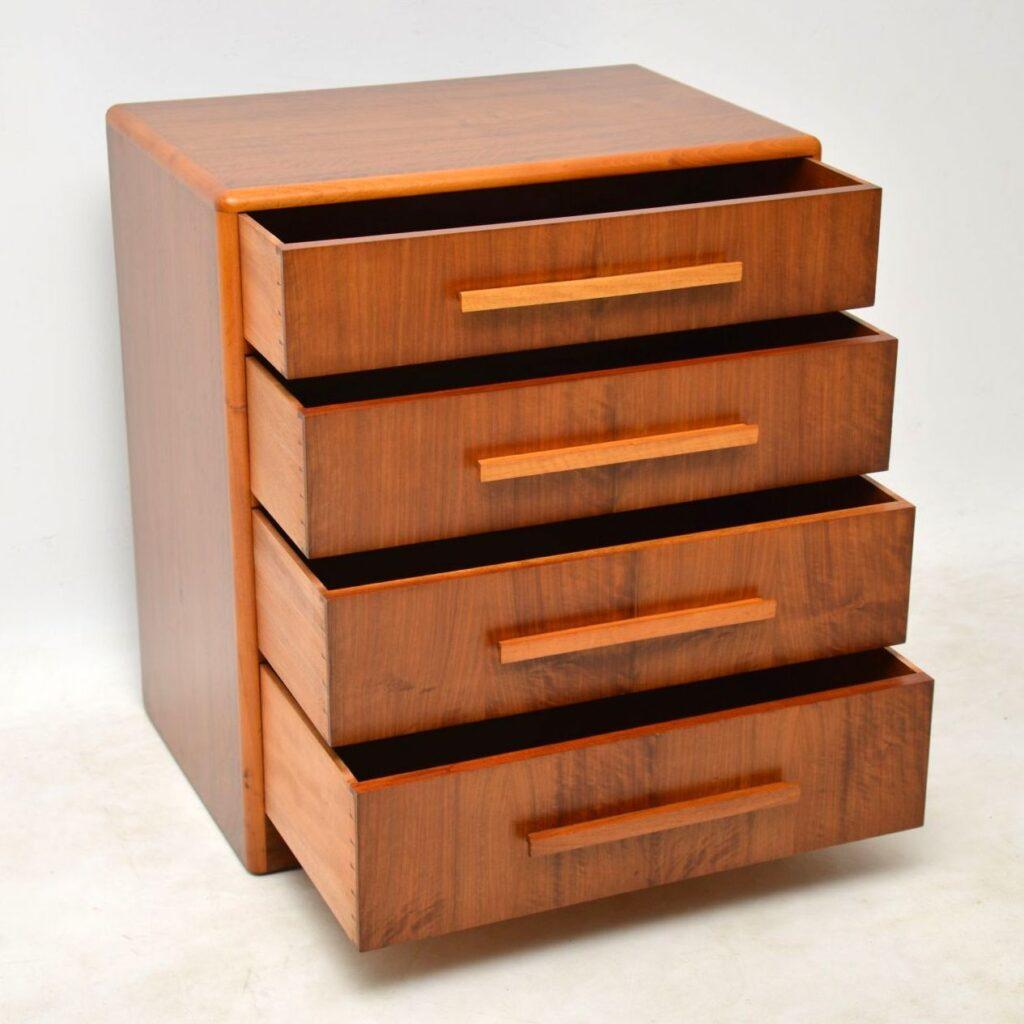 art deco vintage walnut chest of drawers