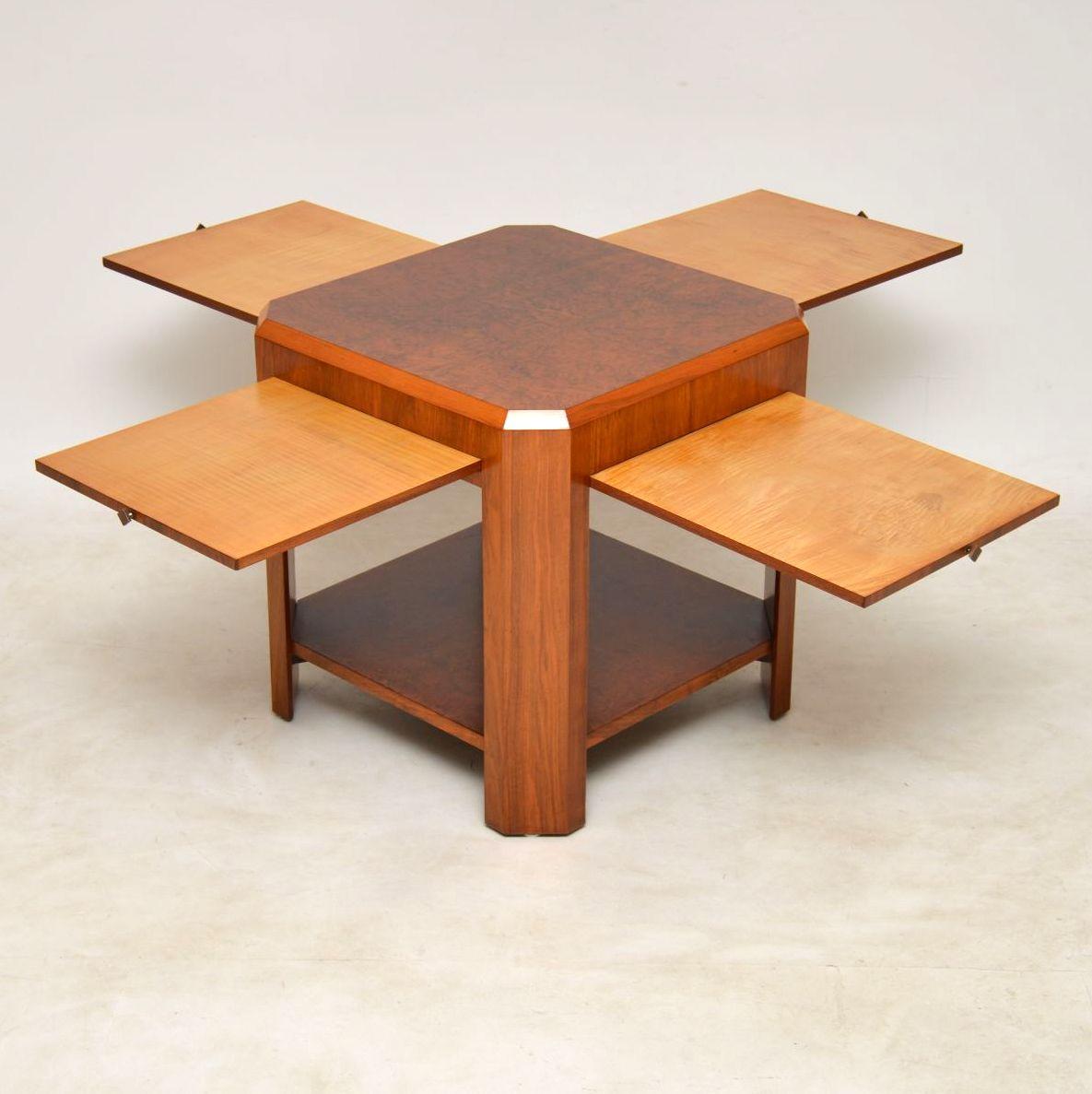 1920 S Art Deco Vintage Walnut Coffee Table Side Table