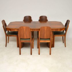 1920's Art Deco Walnut Dining Table & Six Cloud Back Dining Chairs