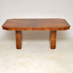 art deco walnut dining table and art deco dining chairs