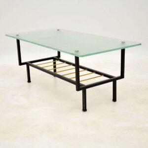 vintage midcentury glass coffee table