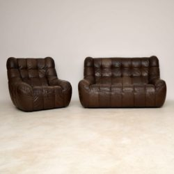 1960's Vintage Leather Two Seat Sofa & Armchair