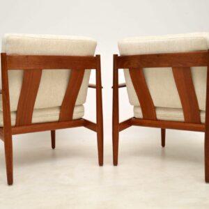 1960's Vintage Pair of Danish Teak Armchairs by Grete Jalk