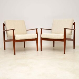 pair of vintage danish teak armchairs grete jalk france and son