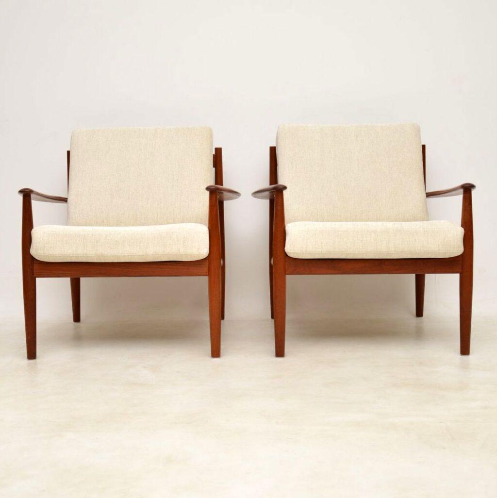 pair of vintage danish teak armchairs grete jalk france and son