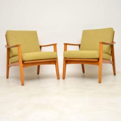 1960's Vintage Pair of Danish Cherry Wood Armchairs