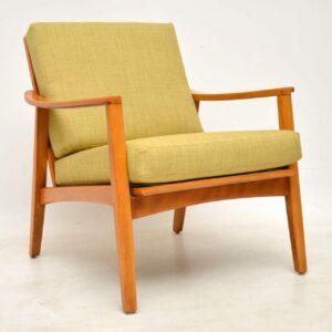 1960's Vintage Pair of Danish Cherry Wood Armchairs