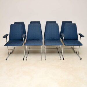 1960's Set of Vintage Chrome Dining Chairs by Pieff