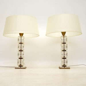 pair of vintage glass midcentury table lamps