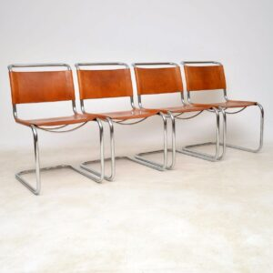vintage italian leather dining chairs mart stam for fasem