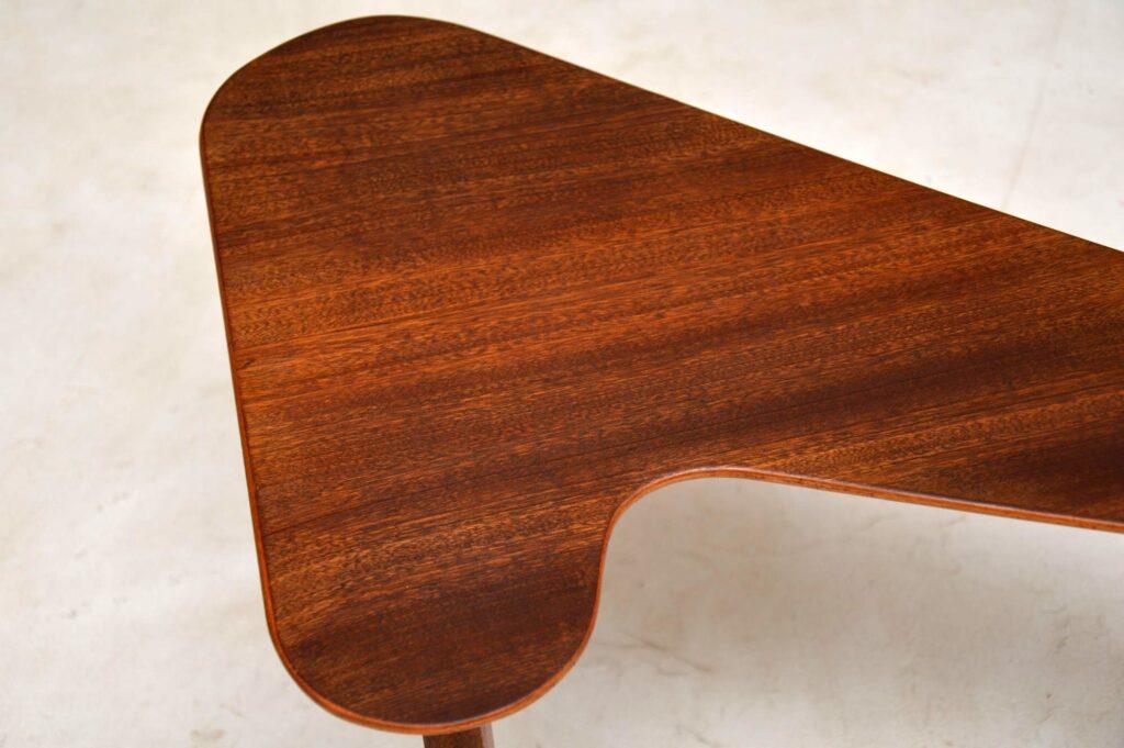 retro walnut boomerang table vintage coffee table