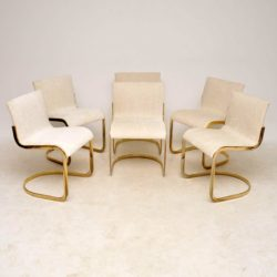 1970's Set of Six Italian Brass Dining Chairs
