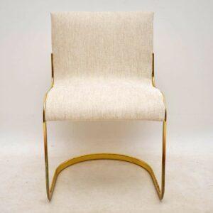 1970's Set of Six Italian Brass Dining Chairs