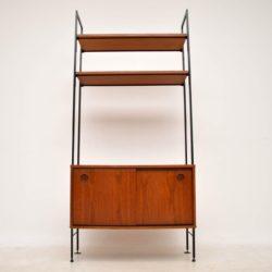 vintage teak bookcase cabinet wall unit ladderax
