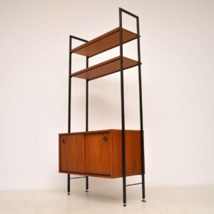 vintage teak bookcase cabinet wall unit ladderax
