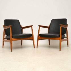 1960's Pair of Oak and Leather Danish Armchairs