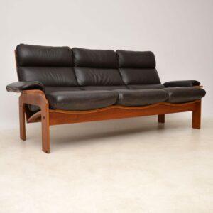 danish vintage leather teak sofa