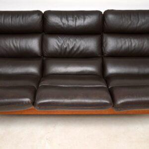 1970's Vintage Danish Leather & Teak Sofa