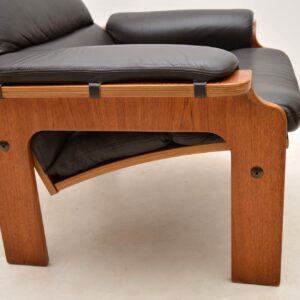 1970's Vintage Danish Leather & Teak Armchair