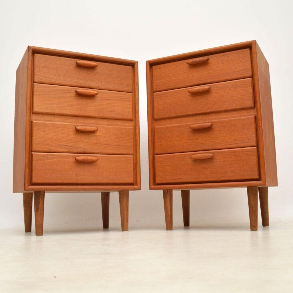 pair of danish vintage teak bedside chests