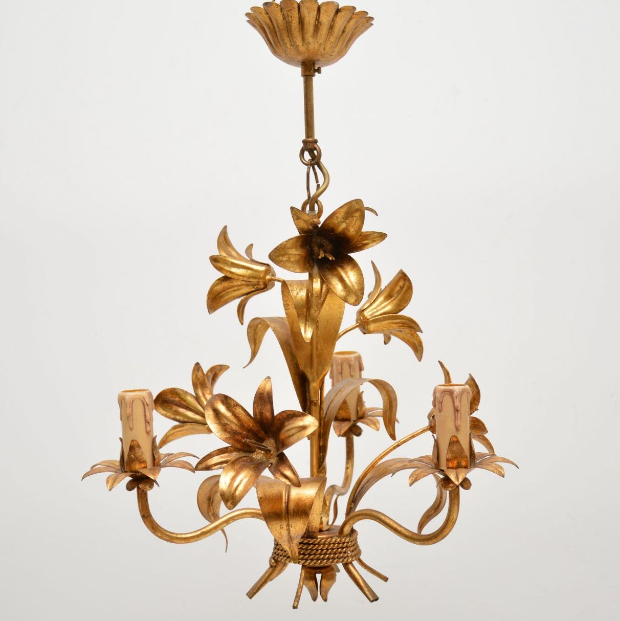 set of six vintage italian gilt metal chandelier