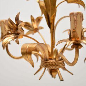set of six vintage italian gilt metal chandelier