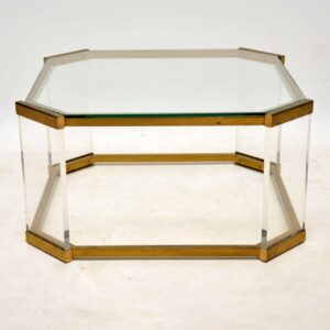 vintage glass brass perspex coffee table 1970's