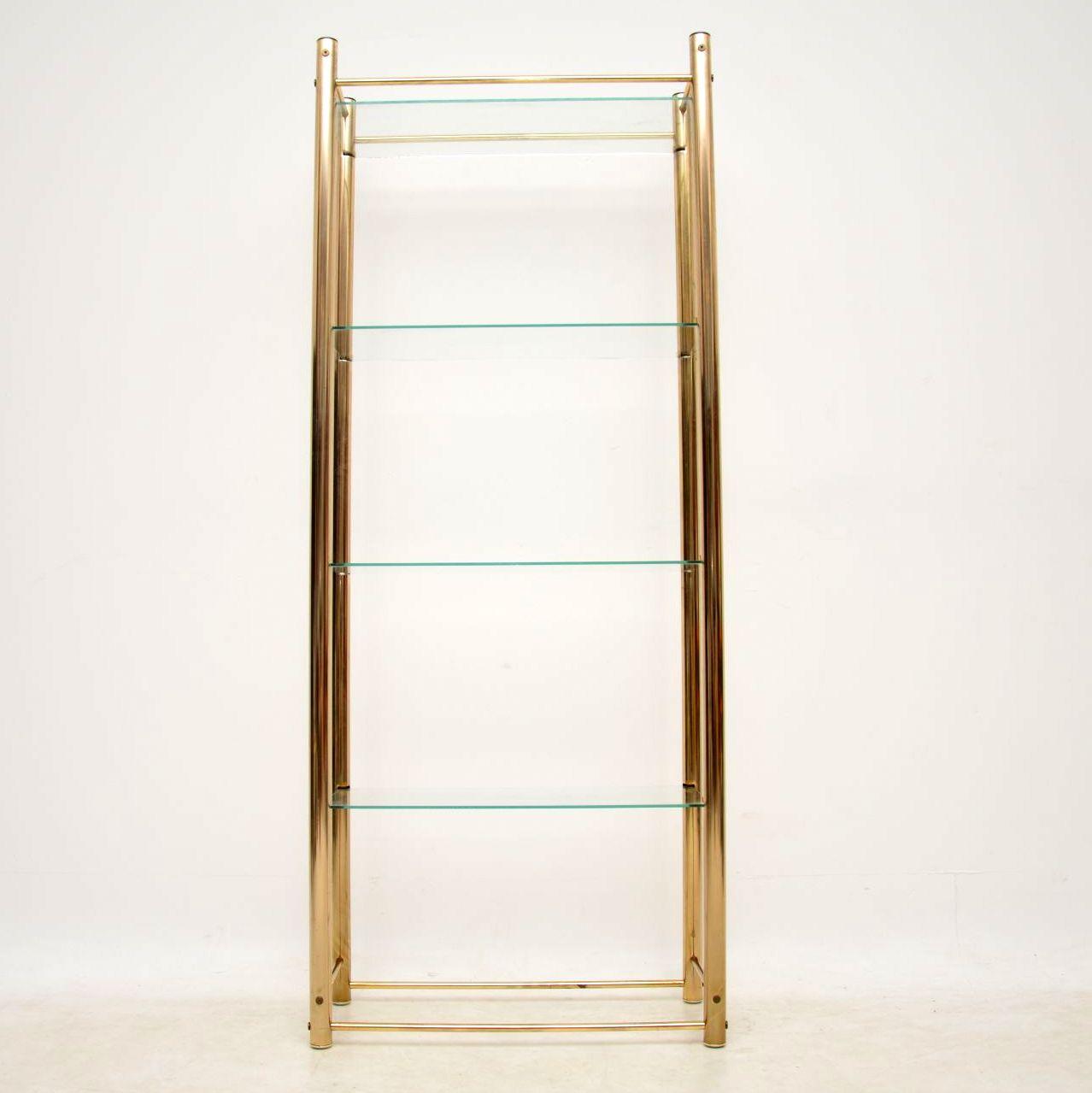 vintage brass display cabinet bookcase