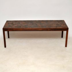 1960's Vintage Danish Rosewood & Copper Coffee Table