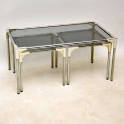 1960's Vintage Chrome Nesting Coffee Table / Side Tables